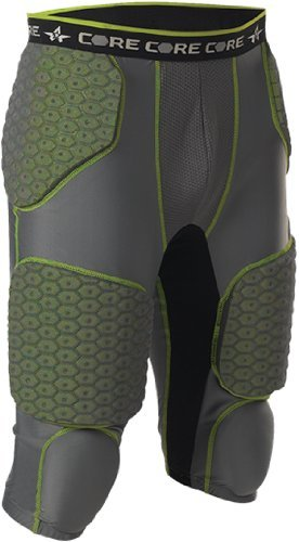 Alleson Athletic Men's Integrated 7 Padded Football Girdle charcoal lime color